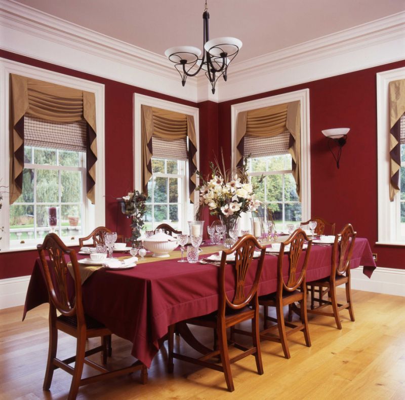 sleek-laminate-floor-mixed-with-red-dining-room-also-chandelier-and-brown-window-curtains