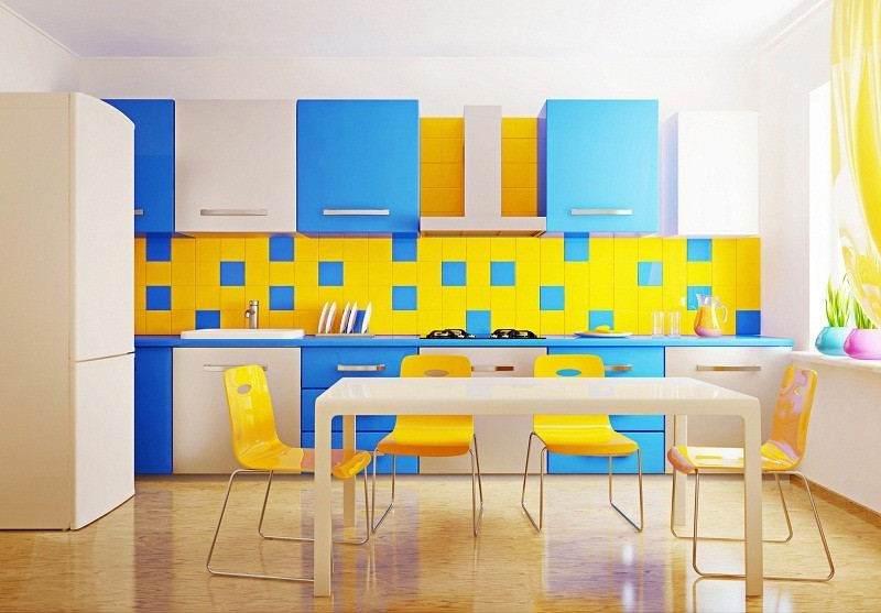 modern interior kitchen with blue and yellow furniture