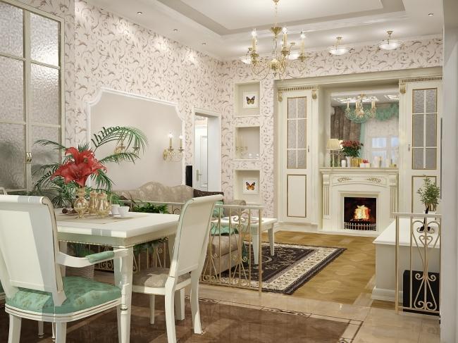 интерьер в классическом стиле гостиной с кухней дизайн интерьера