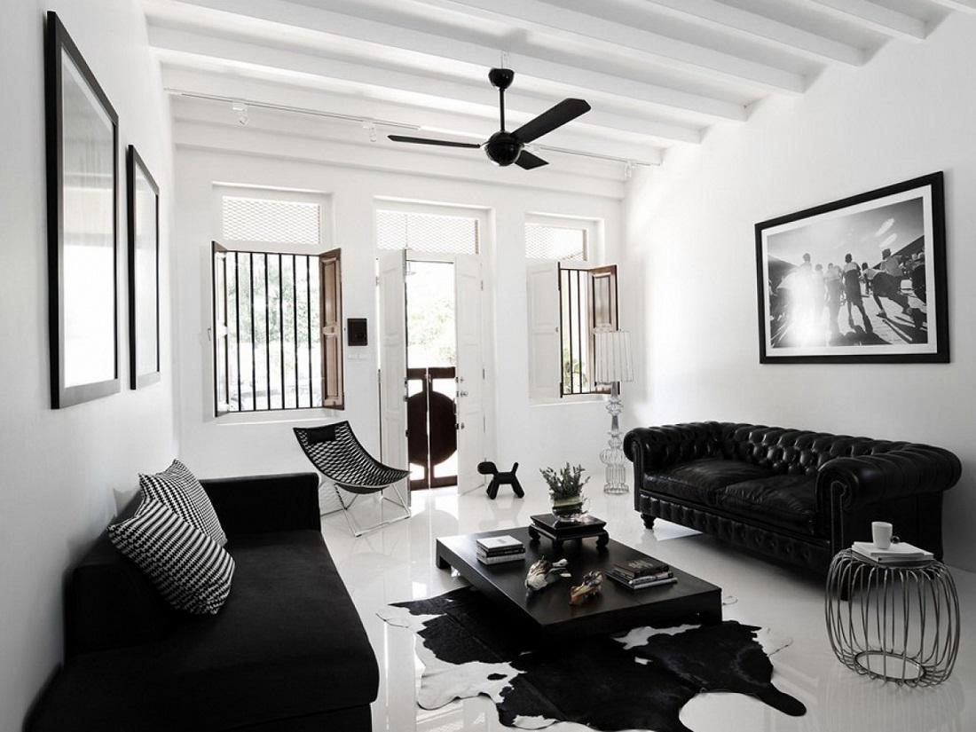 черно белый интерьер квартиры фото дизайн черно белой гостиной 40